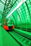 Σύγχρονα μεγάλο τραίνο & x22 Lastochka& x22  Λίγο δαχτυλίδι των σιδηροδρόμων MCC της Μόσχας, ή MK MZD, Ρωσία Στοκ Εικόνα