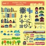 Σύγχρονα στοιχεία χαρτών πόλεων για την παραγωγή του infographics σας, μ Στοκ Φωτογραφίες
