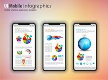 Σύγχρονα τηλέφωνα προτύπων οθονών επαφής με το infographics δ tefchnology διανυσματική απεικόνιση
