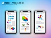 Σύγχρονα τηλέφωνα προτύπων οθονών επαφής με το infographics δ tefchnology ελεύθερη απεικόνιση δικαιώματος