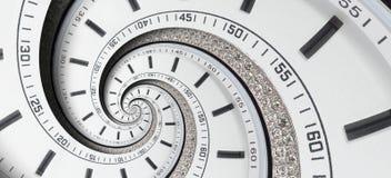 Σύγχρονα χέρια ρολογιών ρολογιών ρολογιών διαμαντιών άσπρα που στρίβονται στην υπερφυσική σπείρα Αφηρημένο σπειροειδές fractal Αφ Στοκ Εικόνες