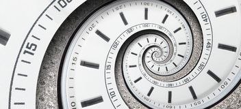 Σύγχρονα χέρια ρολογιών ρολογιών ρολογιών διαμαντιών άσπρα που στρίβονται στην υπερφυσική σπείρα Αφηρημένο σπειροειδές fractal Αφ Στοκ φωτογραφία με δικαίωμα ελεύθερης χρήσης