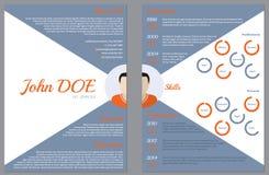 Σύγχρονα δύο - πλαισιωμένος επαναλάβετε το πρότυπο βιογραφικού σημειώματος για την απασχόληση ελεύθερη απεικόνιση δικαιώματος