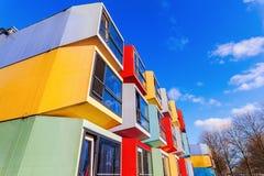 Σύγχρονα stackable διαμερίσματα σπουδαστών που καλούνται spaceboxes σε Almere, Κάτω Χώρες Στοκ Φωτογραφία