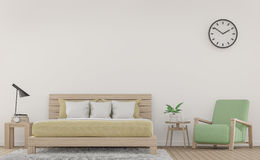 Σύγχρονες άσπρες δωμάτιο και πολυθρόνα κρεβατιών με την τρισδιάστατη δίνοντας εικόνα επίπλων κρητιδογραφιών απεικόνιση αποθεμάτων