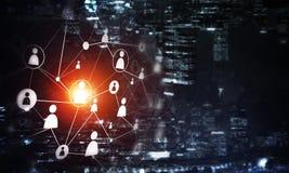Σύγχρονες ασύρματες τεχνολογίες ως μέσα του communucation και της δικτύωσης στο σκοτεινό υπόβαθρο Στοκ Εικόνες