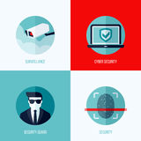 Σύγχρονες επίπεδες διανυσματικές έννοιες της ασφάλειας και της επιτήρησης ελεύθερη απεικόνιση δικαιώματος