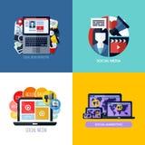 Σύγχρονες επίπεδες διανυσματικές έννοιες του κοινωνικού μάρκετινγκ μέσων ελεύθερη απεικόνιση δικαιώματος