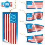 σύγχρονες ετικέττες αυτοκόλλητων ετικεττών αμερικανικών σημαιών Στοκ Εικόνα