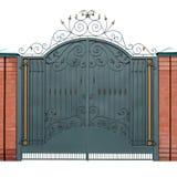 Σύγχρονες σφυρηλατημένες πύλες με τις επιστρωμένες διακοσμήσεις στοκ φωτογραφία με δικαίωμα ελεύθερης χρήσης