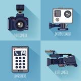 σύγχρονες τεχνολογίες συσκευές που τίθενται ελεύθερη απεικόνιση δικαιώματος
