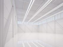 Σύγχρονη άσπρη εσωτερική τρισδιάστατη δίνοντας εικόνα αποθηκών εμπορευμάτων Στοκ Φωτογραφία