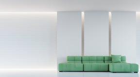 Σύγχρονη άσπρη εσωτερική τρισδιάστατη δίνοντας εικόνα καθιστικών Στοκ Εικόνες