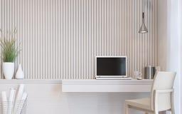 Σύγχρονη άσπρη εσωτερική τρισδιάστατη δίνοντας εικόνα δωματίων εργασίας διανυσματική απεικόνιση