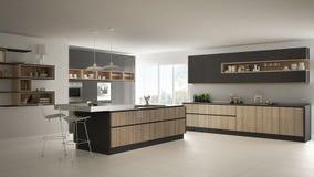 Σύγχρονη άσπρη κουζίνα με τις ξύλινες και γκρίζες λεπτομέρειες, minimalistic διανυσματική απεικόνιση