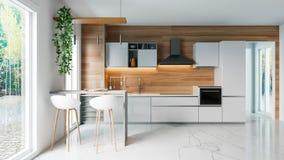 Σύγχρονη άσπρη κουζίνα με τον ξύλινο τοίχο και το μαρμάρινο πάτωμα, minimalistic εσωτερική ιδέα έννοιας σχεδίου, τρισδιάστατη απε στοκ εικόνα