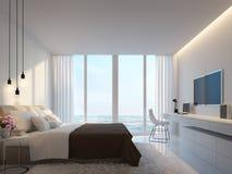 Σύγχρονη άσπρη κρεβατοκάμαρα με την τρισδιάστατη απόδοση άποψης θάλασσας ελεύθερη απεικόνιση δικαιώματος