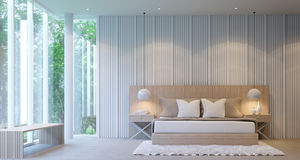 Σύγχρονη άσπρη κρεβατοκάμαρα πολυτέλειας διανυσματική απεικόνιση