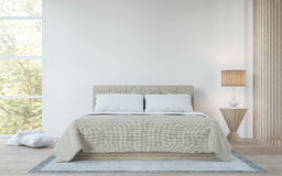 Σύγχρονη άσπρη κρεβατοκάμαρα στη δασική τρισδιάστατη δίνοντας εικόνα απεικόνιση αποθεμάτων