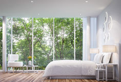 Σύγχρονη άσπρη κρεβατοκάμαρα απεικόνιση αποθεμάτων