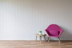 Σύγχρονη άσπρη τρισδιάστατη δίνοντας εικόνα ύφους καθιστικών εκλεκτής ποιότητας Στοκ Φωτογραφίες