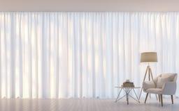 Σύγχρονη άσπρη τρισδιάστατη δίνοντας εικόνα ύφους καθιστικών ελάχιστη Στοκ Εικόνες