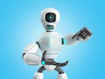 σύγχρονη έννοια του ρομπότ παρουσίασης προϊόντων έτοιμου να παρεμβάλει ελεύθερη απεικόνιση δικαιώματος