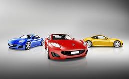 Σύγχρονη λαμπρή συλλογή αθλητικών αυτοκινήτων Στοκ Φωτογραφία