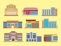 Σύγχρονη απεικόνιση εγχώριων προσόψεων επιχειρησιακών διαμερισμάτων σπιτιών αρχιτεκτονικής γραφείων πύργων κτηρίων πόλεων διανυσμ Στοκ εικόνα με δικαίωμα ελεύθερης χρήσης