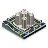 Σύγχρονη απεικόνιση ενός Isometric κτηρίου ξενοδοχείων στο Λα διανυσματική απεικόνιση