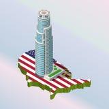 Σύγχρονη απεικόνιση ενός Isometric κτηρίου τράπεζας στο Λα διανυσματική απεικόνιση