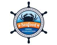 Σύγχρονη απεικόνιση διακριτικών λογότυπων εστιατορίων θαλασσινών ασφαλίστρου Στοκ Εικόνες