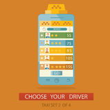 Σύγχρονη απεικόνιση της διαδικασίας έννοιας που επιλέγει το ταξί driv Στοκ Εικόνα