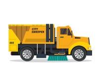 Σύγχρονη απεικόνιση φορτηγών οχημάτων αποκομιδής απορριμμάτων οδών ελεύθερη απεικόνιση δικαιώματος