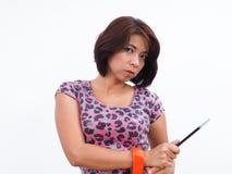 Σύγχρονη ασιατική γυναίκα με την ταμπλέτα Στοκ φωτογραφία με δικαίωμα ελεύθερης χρήσης