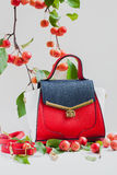 Σύγχρονη αστική θηλυκή τσάντα της ζωηρόχρωμης κινηματογράφησης σε πρώτο πλάνο δερμάτων, ελαφρύ υπόβαθρο με τα κόκκινα μήλα κλάδων Στοκ φωτογραφία με δικαίωμα ελεύθερης χρήσης
