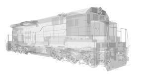 Σύγχρονη ατμομηχανή σιδηροδρόμων diesel με τη μεγάλη δύναμη και τη δύναμη για την κίνηση του μακριού και βαριού τραίνου σιδηροδρό απεικόνιση αποθεμάτων