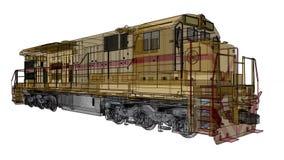 Σύγχρονη ατμομηχανή σιδηροδρόμων diesel με τη μεγάλη δύναμη και τη δύναμη για την κίνηση του μακριού και βαριού τραίνου σιδηροδρό διανυσματική απεικόνιση