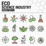 Σύγχρονη βιομηχανία επιστήμης eco Λεπτά εικονίδια γραμμών καθορισμένα Στοκ Εικόνες