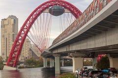Σύγχρονη γέφυρα αναστολής στη Μόσχα Στοκ εικόνες με δικαίωμα ελεύθερης χρήσης