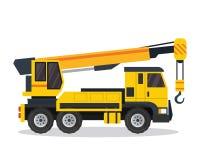 Σύγχρονη γερανών απεικόνιση οχημάτων κατασκευής φορτηγών επίπεδη ελεύθερη απεικόνιση δικαιώματος
