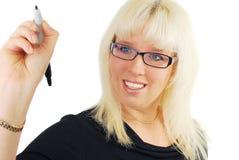 σύγχρονη γυναίκα επιχειρησιακών γυαλιών στοκ εικόνες