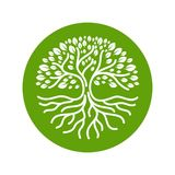 Σύγχρονη διανυσματική απεικόνιση διακριτικών λογότυπων κύκλων ριζών δέντρων στοκ φωτογραφίες με δικαίωμα ελεύθερης χρήσης