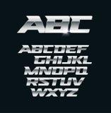 Σύγχρονη διανυσματική πηγή χρωμίου Μεταλλικές επιστολές, γυαλισμένα σύμβολα ύφους χάλυβα Τολμηρό γεωμετρικό αλφάβητο αλουμινίου διανυσματική απεικόνιση