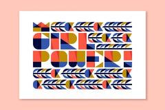 Σύγχρονη εγγραφή - δύναμη κοριτσιών Αφίσα με το φεμινιστικό σύνθημα Στοκ Εικόνες
