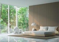Σύγχρονη ειρηνική κρεβατοκάμαρα στο δάσος διανυσματική απεικόνιση