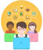 Σύγχρονη εκπαίδευση από τους υπολογιστές ελεύθερη απεικόνιση δικαιώματος