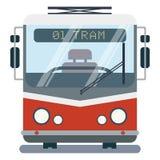 Σύγχρονη επίπεδη απεικόνιση κινούμενων σχεδίων της μπροστινής πλευράς του τυποποιημένου τραμ Στοκ Εικόνες