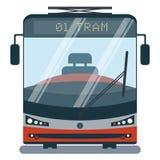 Σύγχρονη επίπεδη απεικόνιση κινούμενων σχεδίων της μπροστινής πλευράς του τυποποιημένου τραμ Στοκ εικόνα με δικαίωμα ελεύθερης χρήσης