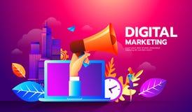 Σύγχρονη επίπεδη απεικόνιση ύφους megaphone και των διαφορετικών εικονιδίων για την ψηφιακή έννοια μάρκετινγκ απεικόνιση αποθεμάτων